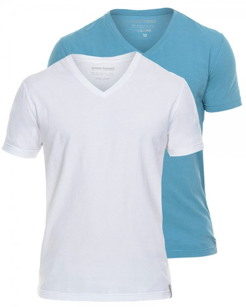 Coloured Cotton V-Shirt von Bruno Banani in 1x in Weiß und 1x in Türkis
