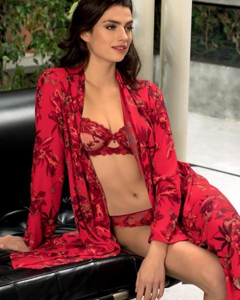 Lise Charmel Kimono mit BH Halbschale und String Fleur Aphrodite Rot
