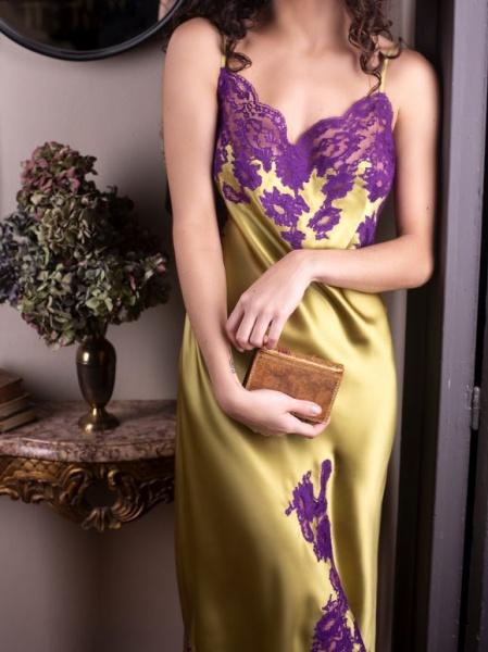 Majolaine - Slip Dress Linden/ Violet - M-3Mar6101-2268