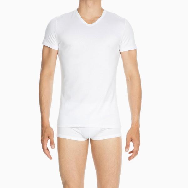 Hom- T-Shirt V Neck-Weiss