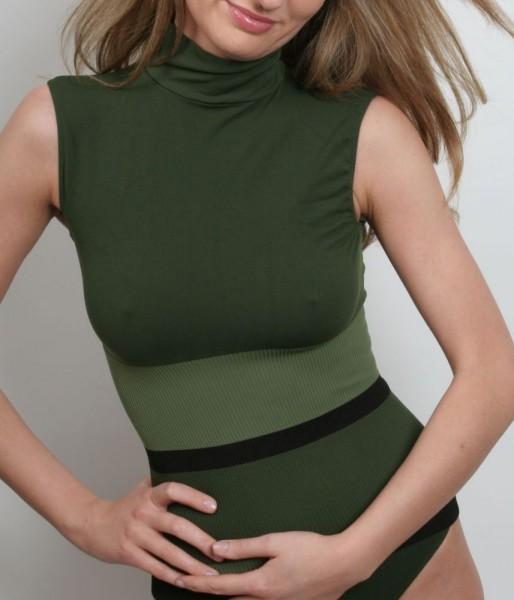 Turtle Neck Shirt Oroblu DOLCE VITA SEAMLESS - Farbe Grün