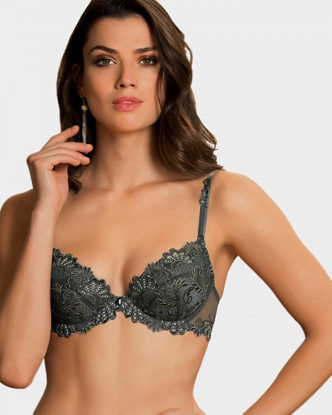 Push up BH Serie Dressing Floral von Lise Charmel - Farbe Anthrazit