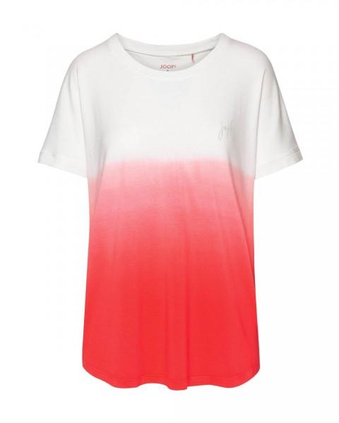 JOOP! T-Shirt Kurzarm modischer Batik-Look Soft Pop Ecru/Koralle - Detailansicht