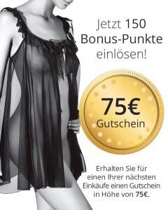 Wert-Gutschein 75 € für 150 Bonus-Punkte